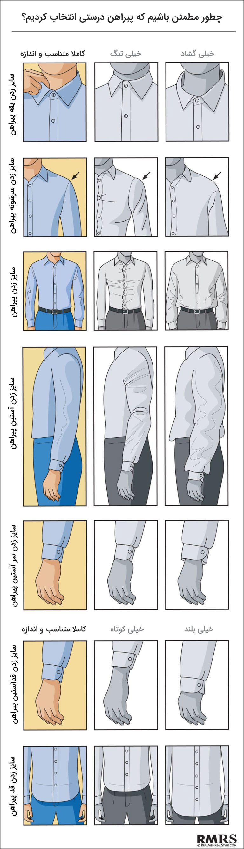 اینفوگرافی سایز پیراهن مردانه