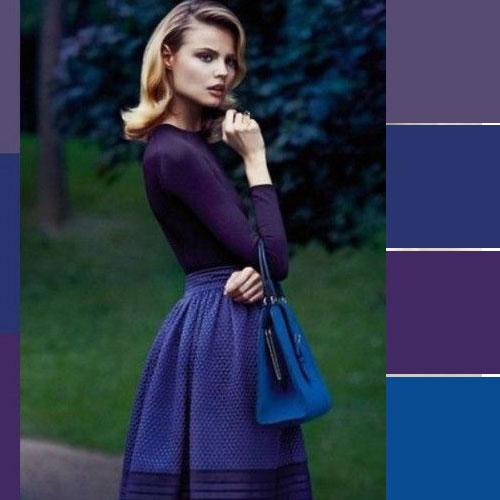 ست لباس بنفش و آبی