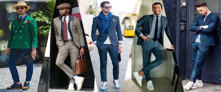 ست مانتو شلوار ست کردن کفش کتانی با لباس های رسمی مردانه-وبلاگ شیکسون
