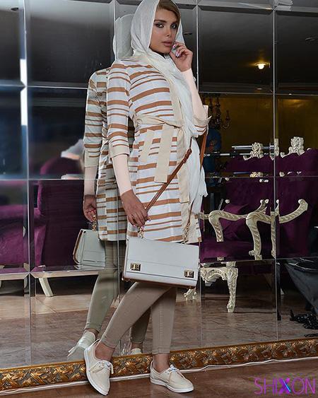 مانتو کرم با شال چه رنگی معرفی 21 استایل و مدل مانتو راه راه-وبلاگ شیکسون